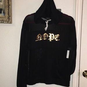 """Black mesh net hoodie top rose gold """"nope"""" SzXL"""